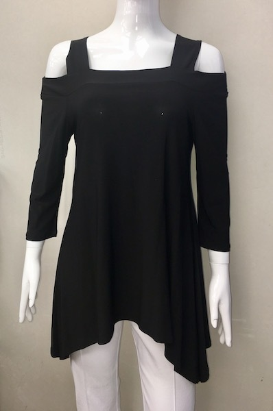 Black Cold Shoulder Tunic Simply Amethyst